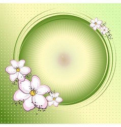 Pink flowers and circle vector