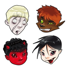 Zombie werewolf devil and vampire vector