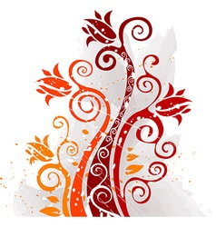 Grunge autumn floral design vector