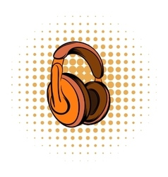 Orange headphones comics icon vector