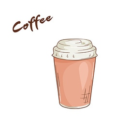An isolated cartoon hand drawn fast food coffee in vector