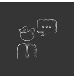 Man with speech square drawn in chalk icon vector
