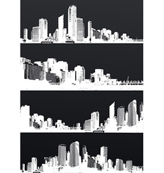 Inverted set of black and white panorama cities vector