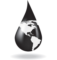 A drop of oil with a map on it vector image vector image