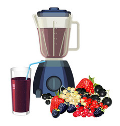 blender and glass of smoothie made of healthy vector image
