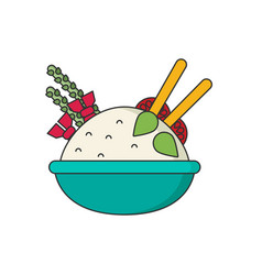 Bowl of rice with pair of chopsticks in color vector