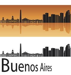 Buenos aires skyline in orange background vector