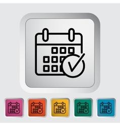 Calendar with check vector