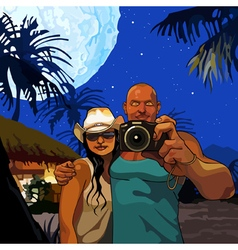cartoon couple man and woman photographed vector image vector image