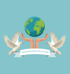color poster hands holding a earth world with pair vector image vector image