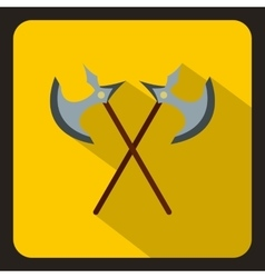 Crossed ancient battle axes icon flat style vector