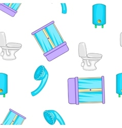 Equipment for bathroom pattern cartoon style vector