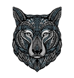 Ethnic ornamented wolf or dog vector