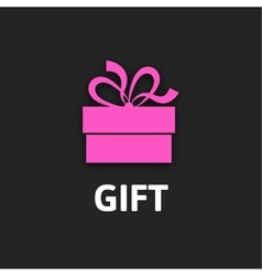 Gift box icon with ribbon flat design vector image vector image