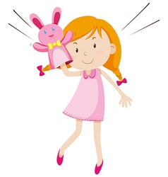 Girl playing with rabbit puppet vector image vector image