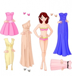 Girl with evening dresses vector