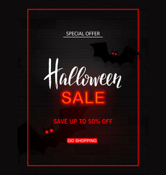 halloween sale light banner modern neon billboard vector image vector image