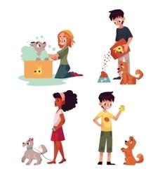 Happy kids feeding washing walking a dog vector