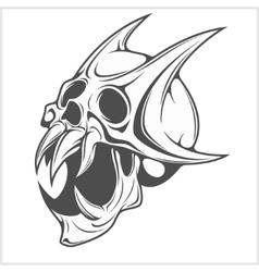 Horned Skull on white vector image