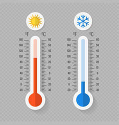 hot and cold meteorology thermometers on vector image vector image