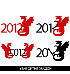 image of 4 variations with year 2012 and dragon vector image