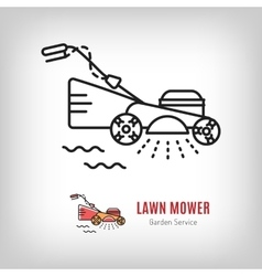 Lawn mower icon mowing grass gardening vector