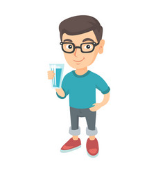 little caucasian boy holding a glass of water vector image vector image