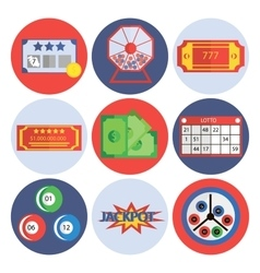 Lottery flat icons set vector image vector image