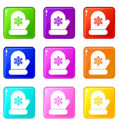 Mitten with white snowflake icons 9 set vector