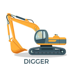 Modern digger with round cabbint and huge ladle vector