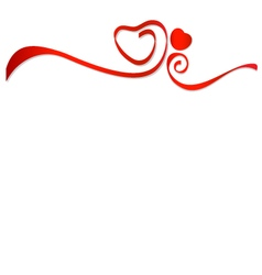 Red ribbons with red heart vector