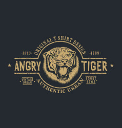 Retro label with angry tiger vector