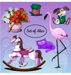 Set of toys and animals vector