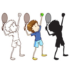 Sketches of the tennis player in three different vector