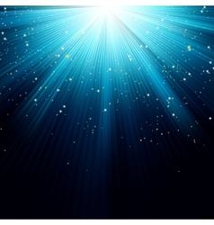 Snow and stars falling on blue rays EPS 8 vector image vector image