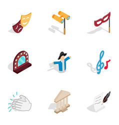 Theater icons isometric 3d style vector