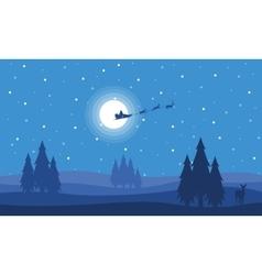 Train deer on the sky with santa vector