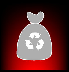 Trash bag icon postage stamp or old photo style vector