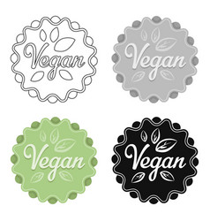 vegan icon in cartoon style isolated on white vector image