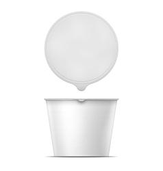 White instant noodles bowl template vector