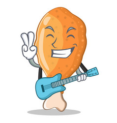 with guitar fried chicken character cartoon vector image