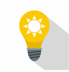 Yellow light bulb with sun inside icon flat style vector
