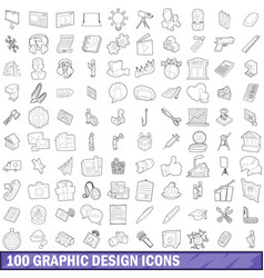100 graphic design icons set outline style vector image