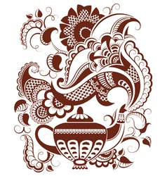 Abstract floral teapot silhouette and hot steam vector