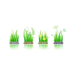 Green grass on stone ground vector