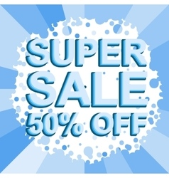 Big winter sale poster with super sale 50 percent vector