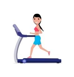 Cartoon sporty girl running on a treadmill vector