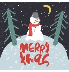 Decorative greeting card with snowman and trees vector