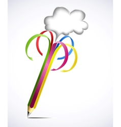Colorful pencil with blank bubbles vector