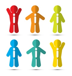 Colorful Paper People Icons with Ties vector image